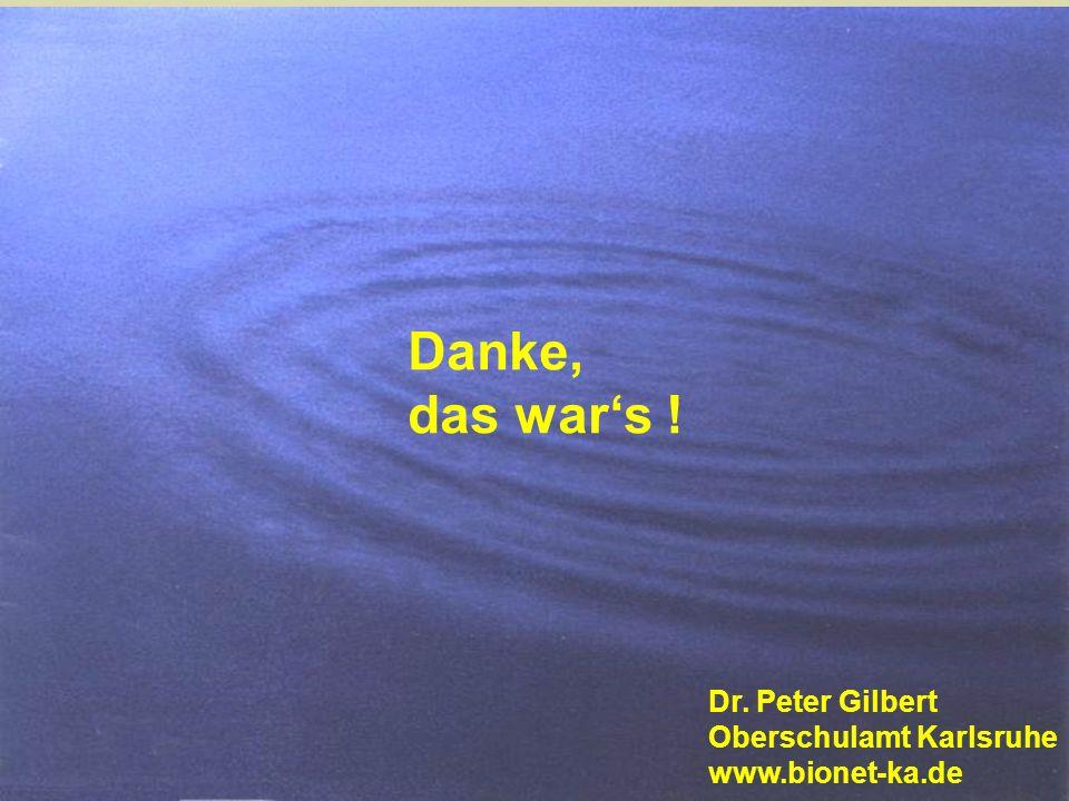 Danke, das wars ! Dr. Peter Gilbert Oberschulamt Karlsruhe www.bionet-ka.de
