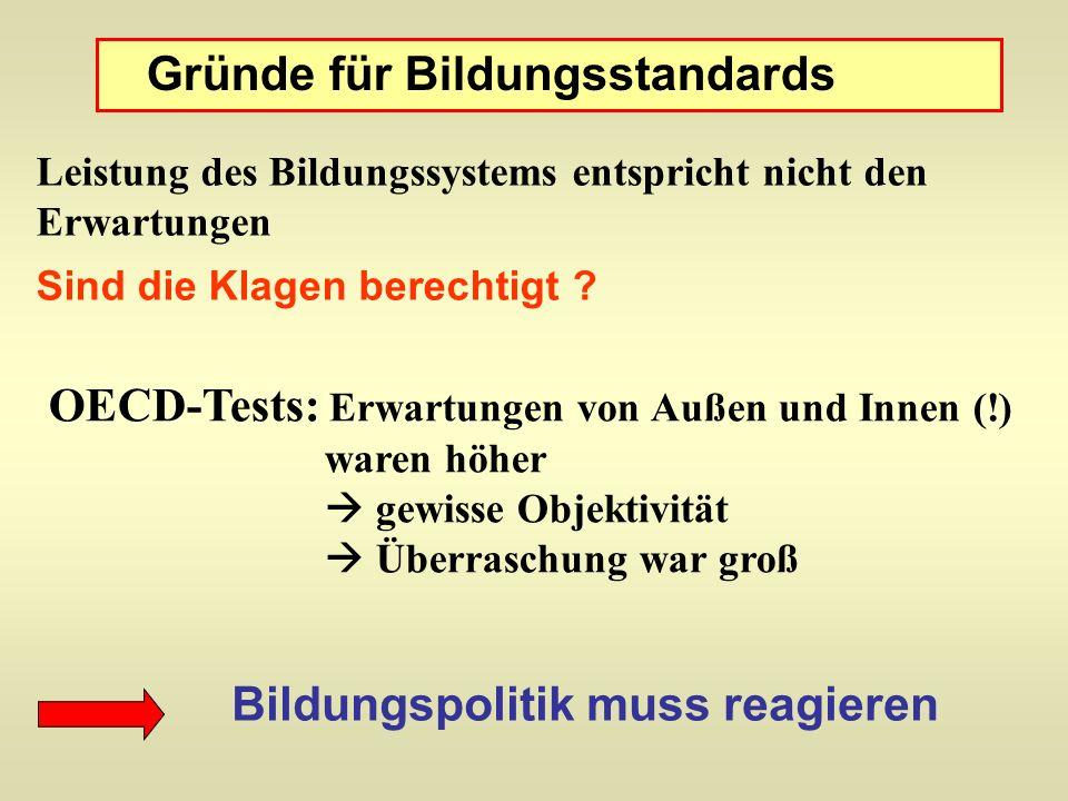 Gründe für Bildungsstandards Leistung des Bildungssystems entspricht nicht den Erwartungen Sind die Klagen berechtigt ? OECD-Tests: Erwartungen von Au