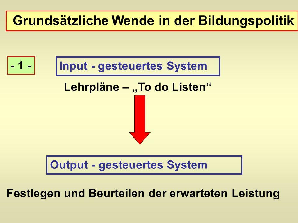 Grundsätzliche Wende in der Bildungspolitik Input - gesteuertes System Lehrpläne – To do Listen Output - gesteuertes System Festlegen und Beurteilen d