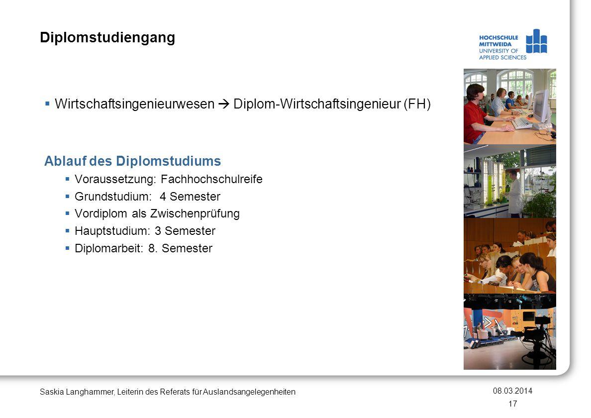 Diplomstudiengang Wirtschaftsingenieurwesen Diplom-Wirtschaftsingenieur (FH) Ablauf des Diplomstudiums Voraussetzung: Fachhochschulreife Grundstudium:
