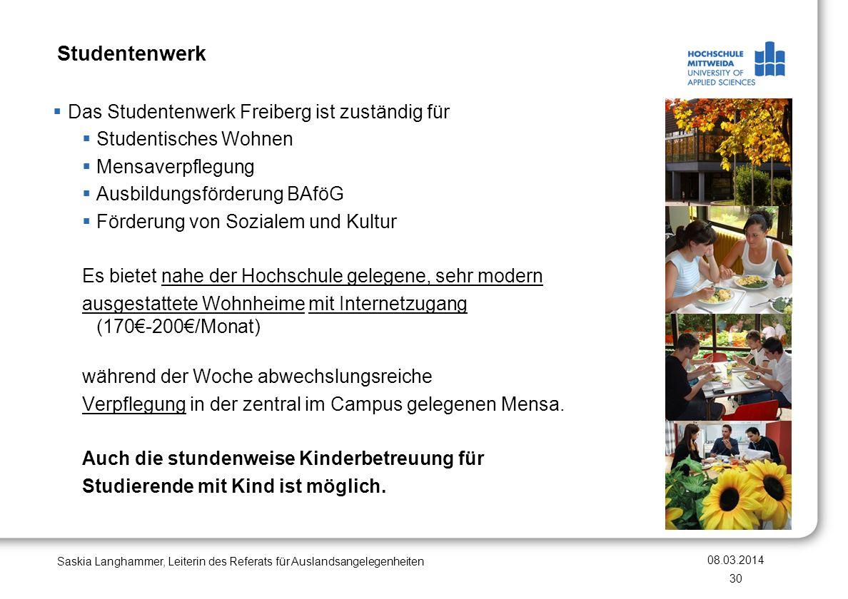 Studentenwerk Das Studentenwerk Freiberg ist zuständig für Studentisches Wohnen Mensaverpflegung Ausbildungsförderung BAföG Förderung von Sozialem und