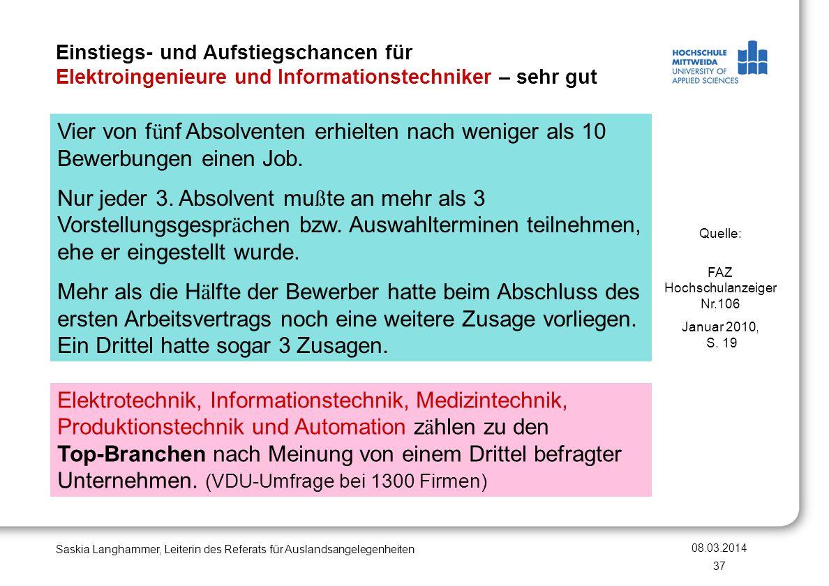 Einstiegs- und Aufstiegschancen für Elektroingenieure und Informationstechniker – sehr gut 08.03.2014 Saskia Langhammer, Leiterin des Referats für Aus