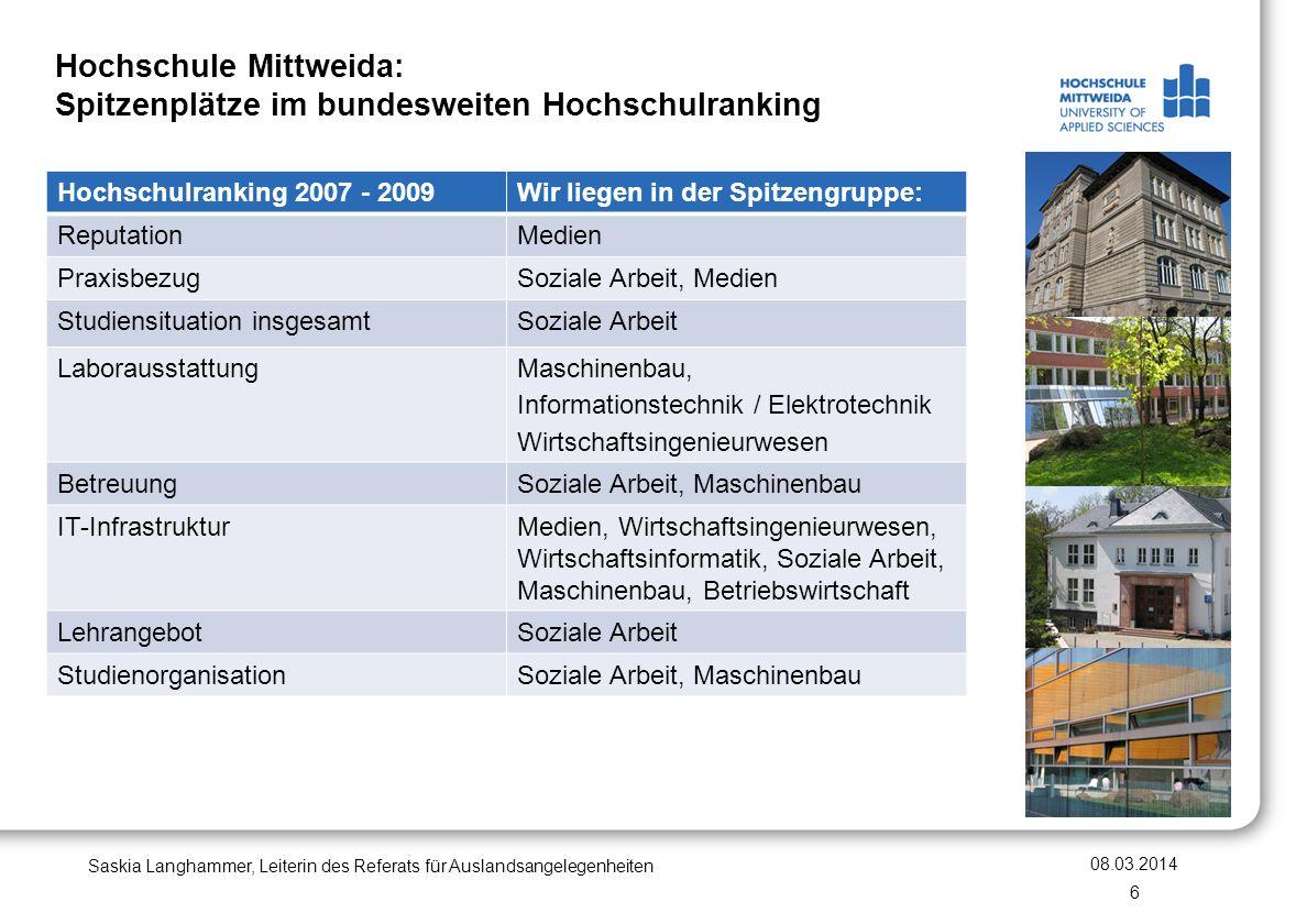 Hochschule Mittweida: Spitzenplätze im bundesweiten Hochschulranking Hochschulranking 2007 - 2009Wir liegen in der Spitzengruppe: ReputationMedien Pra
