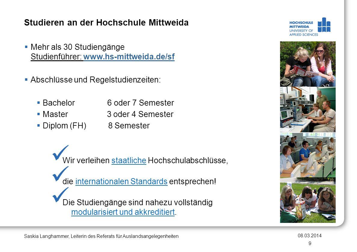 Studieren an der Hochschule Mittweida Mehr als 30 Studiengänge Studienführer: www.hs-mittweida.de/sf Abschlüsse und Regelstudienzeiten: Bachelor 6 ode