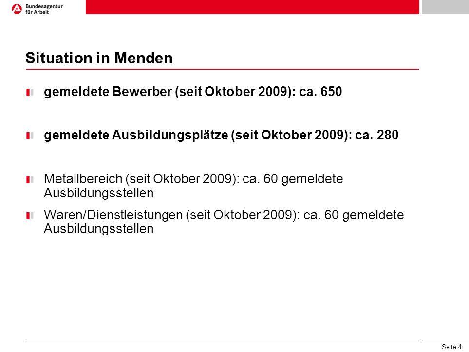 Seite 4 Situation in Menden gemeldete Bewerber (seit Oktober 2009): ca.