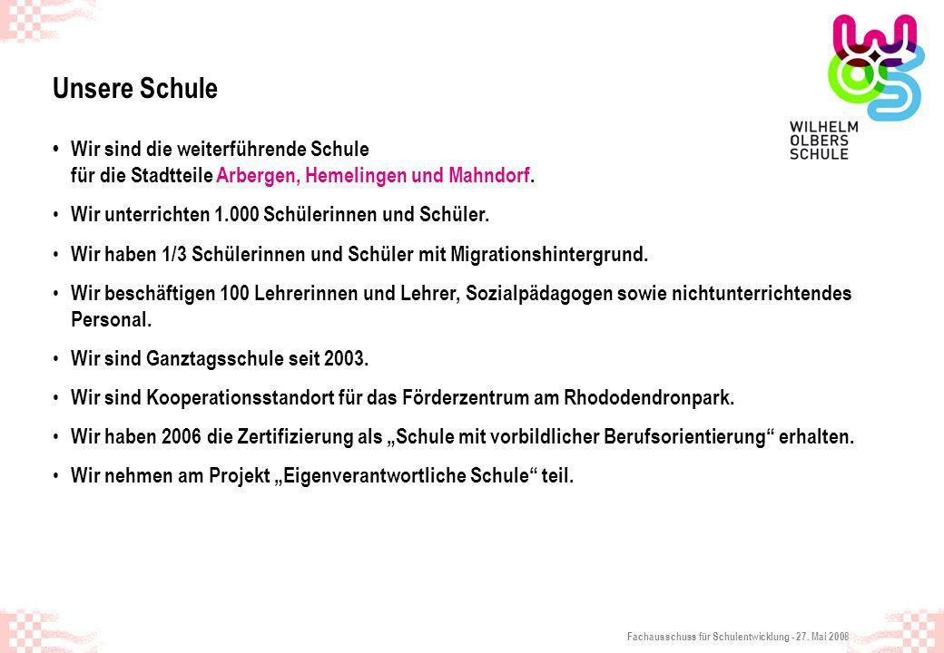 Fachausschuss für Schulentwicklung - 27. Mai 2008 Unsere Schule Wir sind die weiterführende Schule für die Stadtteile Arbergen, Hemelingen und Mahndor