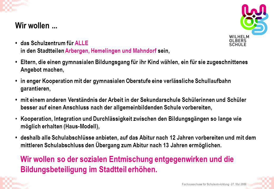 Fachausschuss für Schulentwicklung - 27. Mai 2008 Wir wollen... das Schulzentrum für ALLE in den Stadtteilen Arbergen, Hemelingen und Mahndorf sein, E
