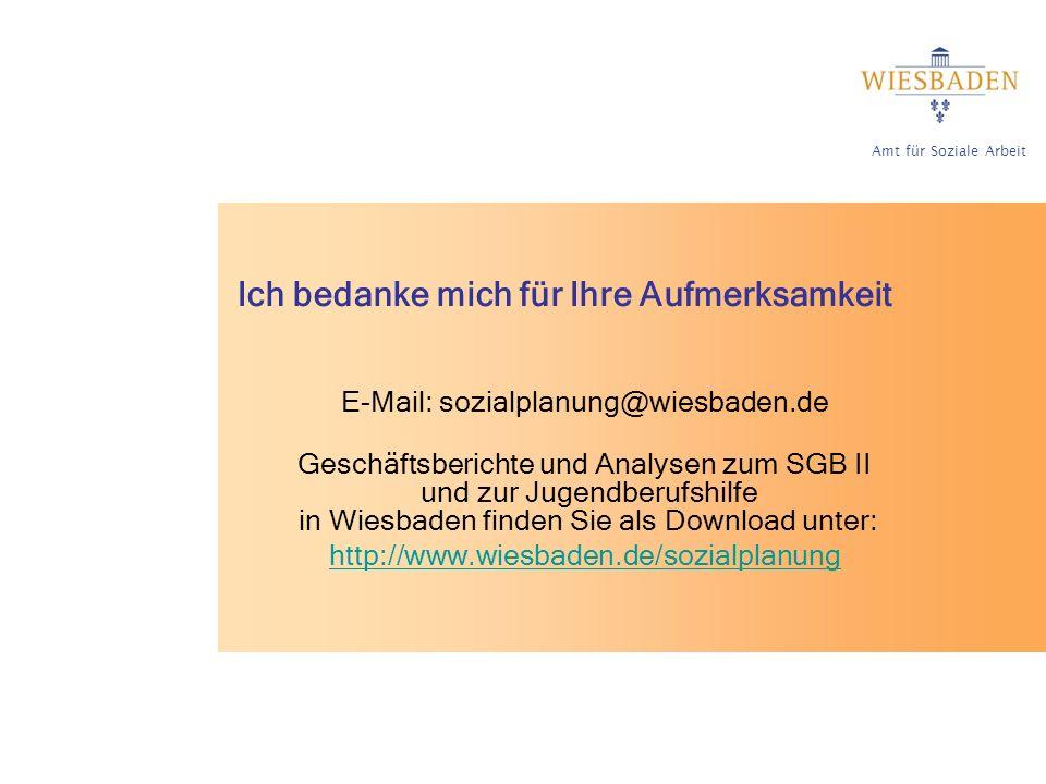 Amt für Soziale Arbeit Ich bedanke mich für Ihre Aufmerksamkeit E-Mail: sozialplanung@wiesbaden.de Geschäftsberichte und Analysen zum SGB II und zur Jugendberufshilfe in Wiesbaden finden Sie als Download unter: http://www.wiesbaden.de/sozialplanung
