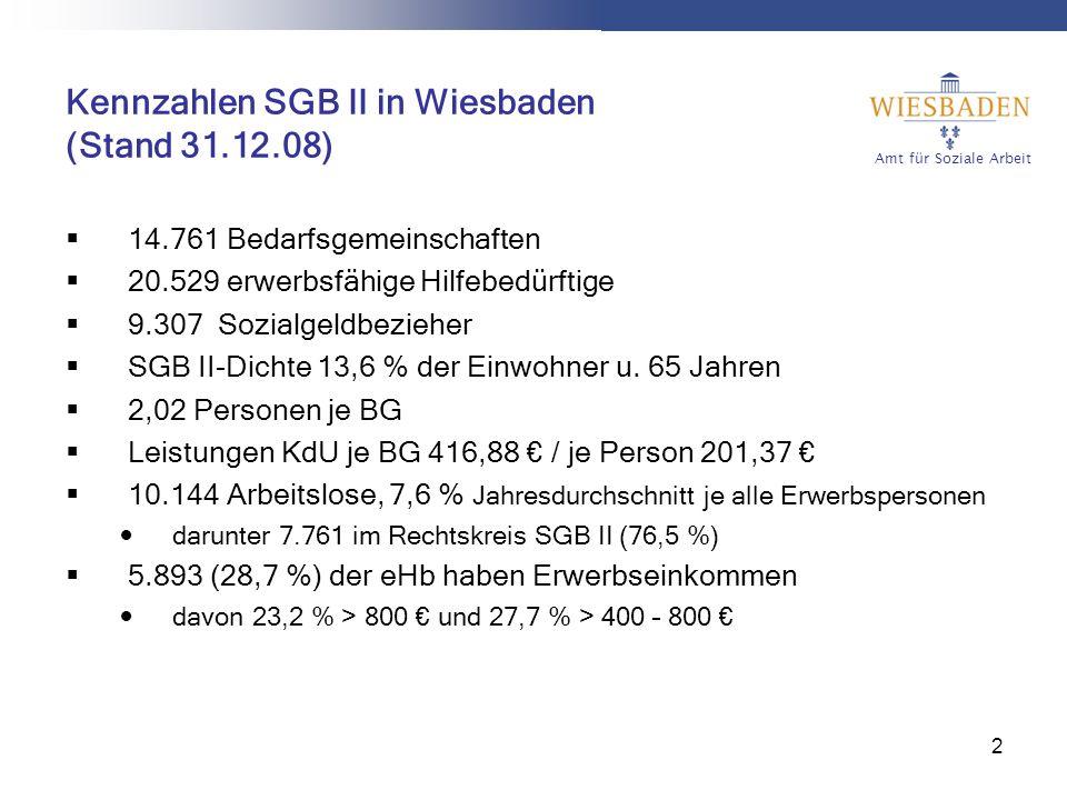 Amt für Soziale Arbeit 2 Kennzahlen SGB II in Wiesbaden (Stand 31.12.08) 14.761 Bedarfsgemeinschaften 20.529 erwerbsfähige Hilfebedürftige 9.307 Sozialgeldbezieher SGB II-Dichte 13,6 % der Einwohner u.