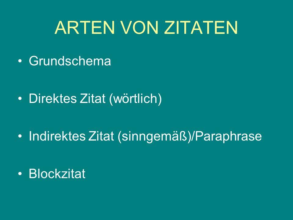 ARTEN VON ZITATEN Grundschema Direktes Zitat (wörtlich) Indirektes Zitat (sinngemäß)/Paraphrase Blockzitat