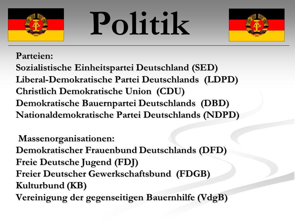 Parteien: Sozialistische Einheitspartei Deutschland (SED) Liberal-Demokratische Partei Deutschlands (LDPD) Christlich Demokratische Union (CDU) Demokratische Bauernpartei Deutschlands (DBD) Nationaldemokratische Partei Deutschlands (NDPD) Massenorganisationen: Massenorganisationen: Demokratischer Frauenbund Deutschlands (DFD) Freie Deutsche Jugend (FDJ) Freier Deutscher Gewerkschaftsbund (FDGB) Kulturbund (KB) Vereinigung der gegenseitigen Bauernhilfe (VdgB) Politik