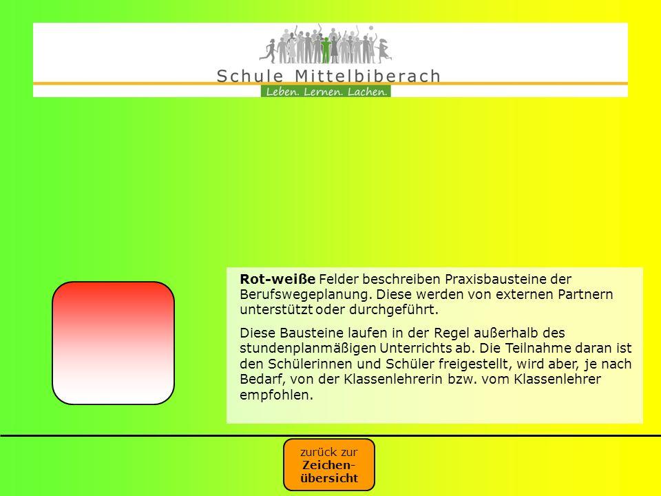Rot-weiße Felder beschreiben Praxisbausteine der Berufswegeplanung. Diese werden von externen Partnern unterstützt oder durchgeführt. Diese Bausteine