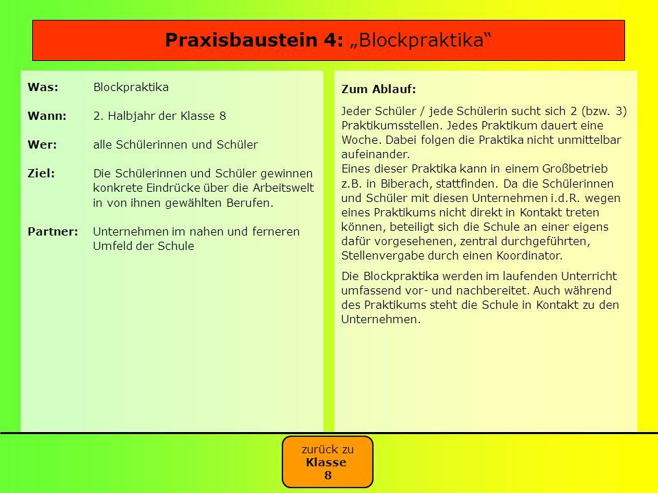 Was:Blockpraktika Wann:2. Halbjahr der Klasse 8 Wer:alle Schülerinnen und Schüler Ziel:Die Schülerinnen und Schüler gewinnen konkrete Eindrücke über d