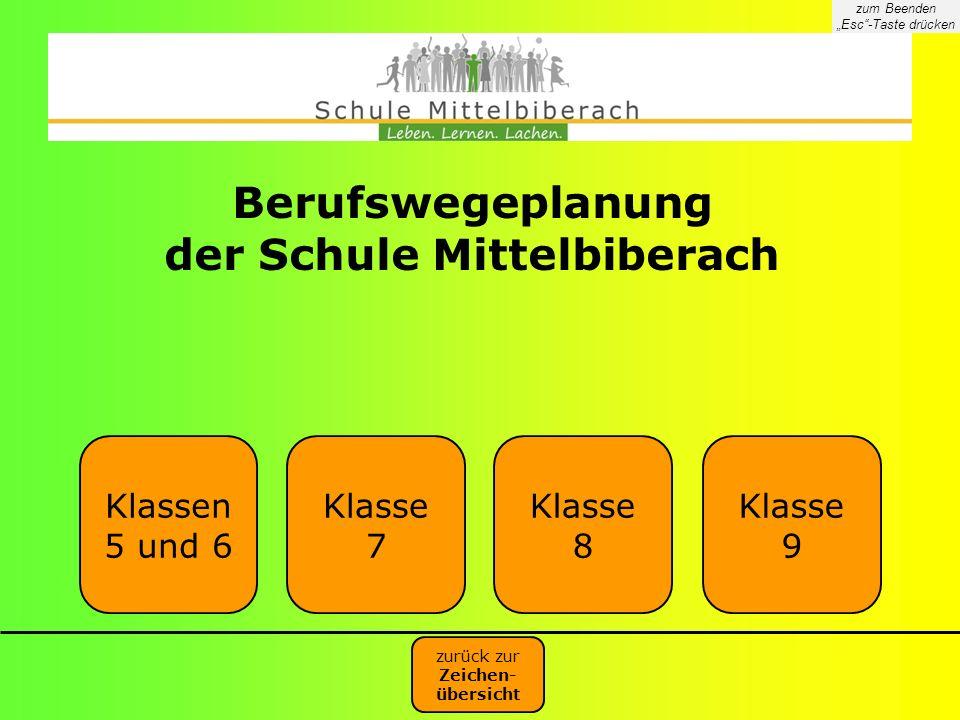 Berufswegeplanung der Schule Mittelbiberach Klassen 5 und 6 Klasse 7 Klasse 8 Klasse 9 zurück zur Zeichen- übersicht zum Beenden Esc-Taste drücken