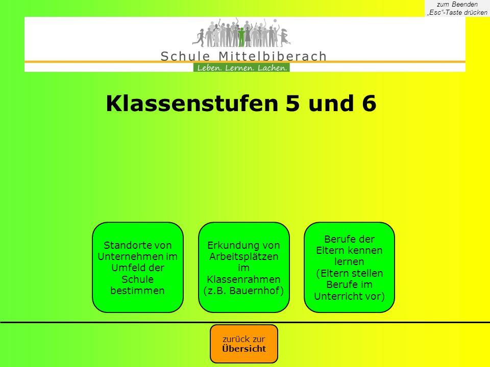 Klassenstufen 5 und 6 Standorte von Unternehmen im Umfeld der Schule bestimmen Erkundung von Arbeitsplätzen im Klassenrahmen (z.B. Bauernhof) Berufe d