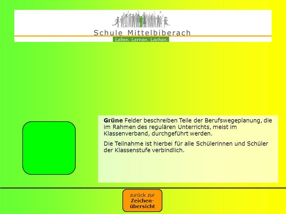 Grüne Felder beschreiben Teile der Berufswegeplanung, die im Rahmen des regulären Unterrichts, meist im Klassenverband, durchgeführt werden. Die Teiln