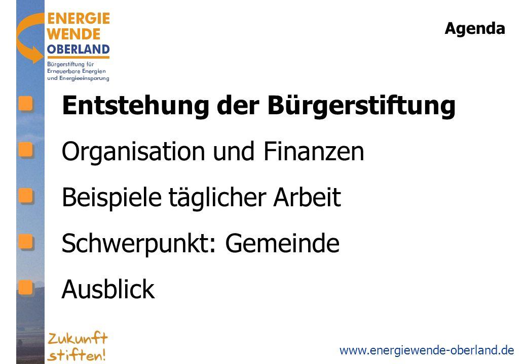 www.energiewende-oberland.de Organisation Stifterversammlung 194 Stifter 1 mal pro Jahr Stiftungsrat 18 Stiftungsräte (derzeit 21) … inkl.