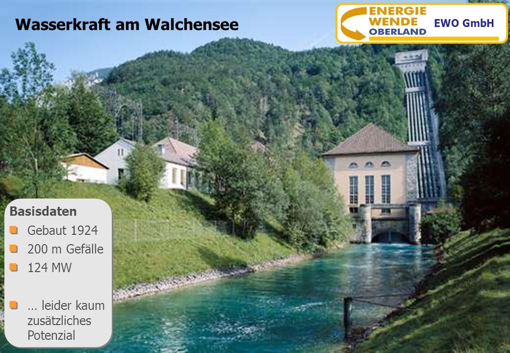 www.energiewende-oberland.de Wasserkraft am Walchensee Basisdaten Gebaut 1924 200 m Gefälle 124 MW … leider kaum zusätzliches Potenzial Basisdaten Geb