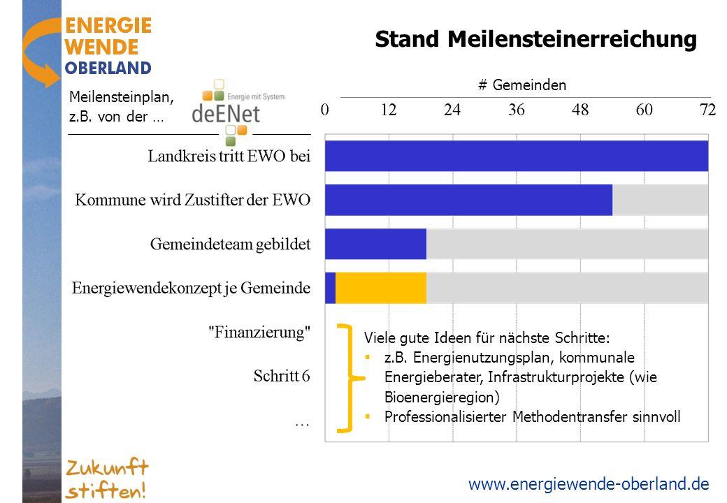 www.energiewende-oberland.de Stand Meilensteinerreichung # Gemeinden Viele gute Ideen für nächste Schritte: z.B. Energienutzungsplan, kommunale Energi