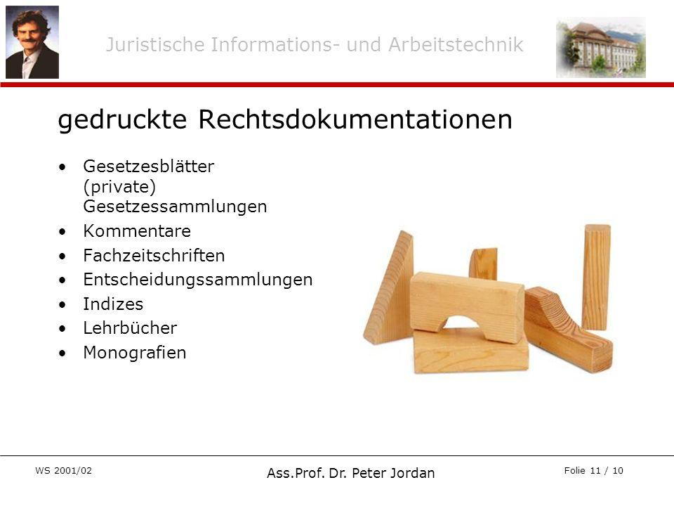Juristische Informations- und Arbeitstechnik WS 2001/02 Ass.Prof. Dr. Peter Jordan Folie 11 / 10 gedruckte Rechtsdokumentationen Gesetzesblätter (priv