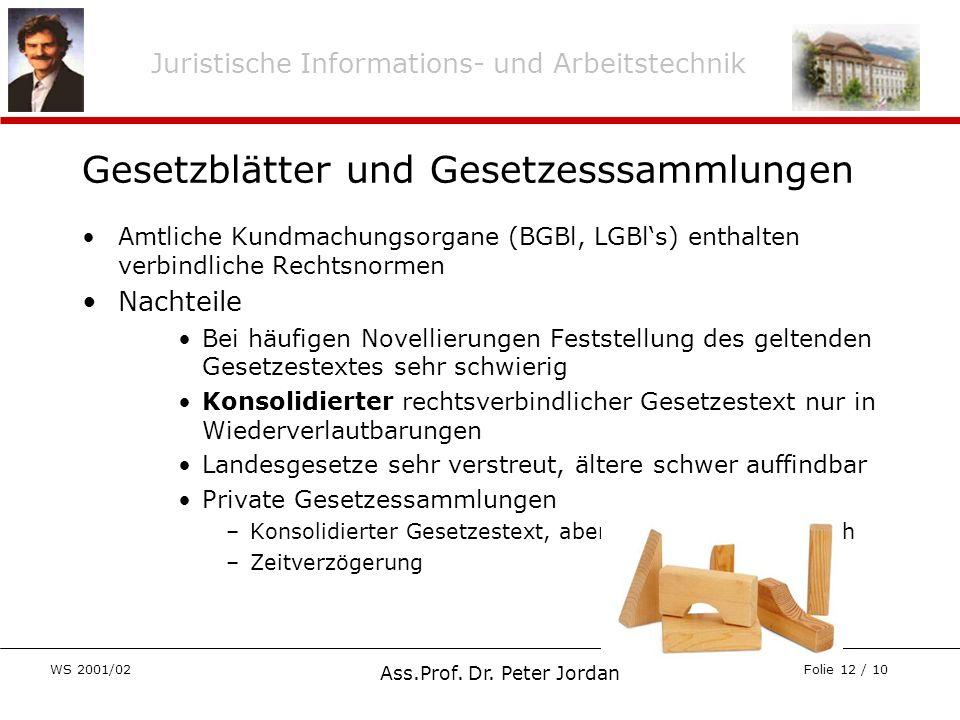 Juristische Informations- und Arbeitstechnik WS 2001/02 Ass.Prof. Dr. Peter Jordan Folie 12 / 10 Gesetzblätter und Gesetzesssammlungen Amtliche Kundma