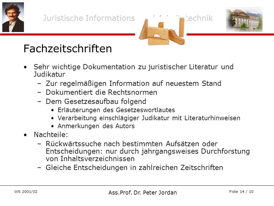 Juristische Informations- und Arbeitstechnik WS 2001/02 Ass.Prof. Dr. Peter Jordan Folie 14 / 10 Fachzeitschriften Sehr wichtige Dokumentation zu juri