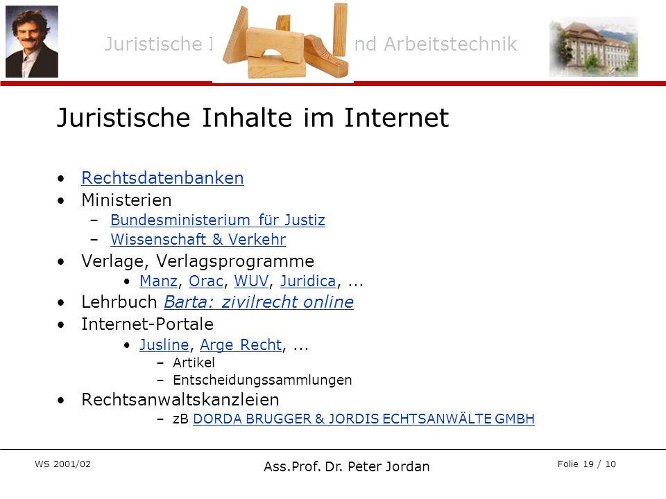 Juristische Informations- und Arbeitstechnik WS 2001/02 Ass.Prof. Dr. Peter Jordan Folie 19 / 10 Juristische Inhalte im Internet Rechtsdatenbanken Min