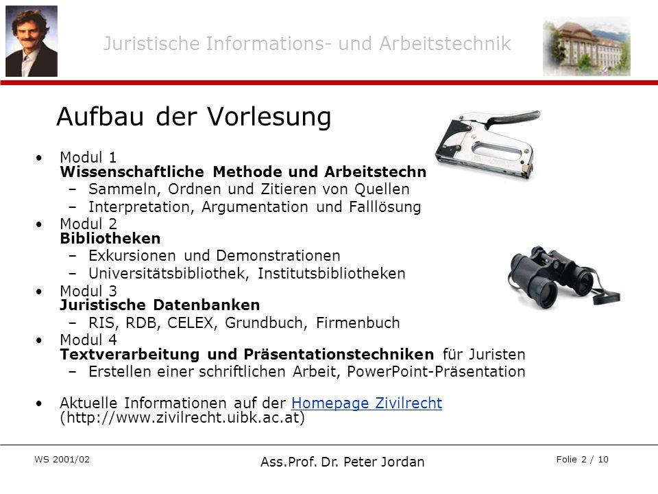 Juristische Informations- und Arbeitstechnik WS 2001/02 Ass.Prof. Dr. Peter Jordan Folie 2 / 10 Modul 1 Wissenschaftliche Methode und Arbeitstechnik –