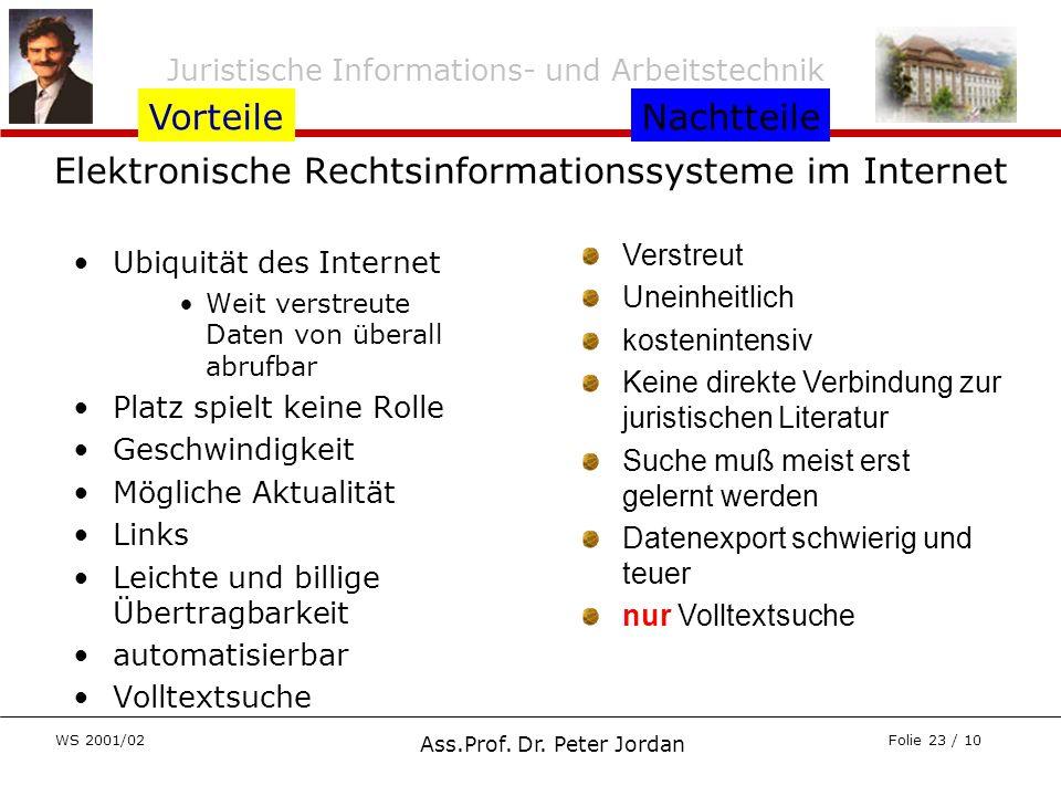 Juristische Informations- und Arbeitstechnik WS 2001/02 Ass.Prof. Dr. Peter Jordan Folie 23 / 10 Elektronische Rechtsinformationssysteme im Internet U