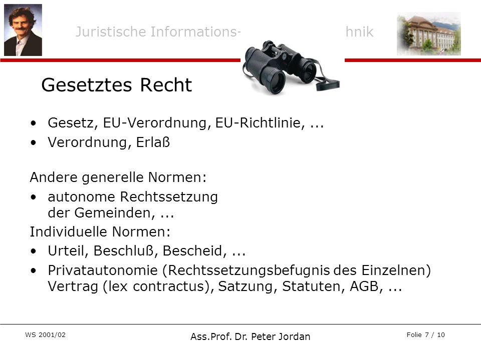 Juristische Informations- und Arbeitstechnik WS 2001/02 Ass.Prof. Dr. Peter Jordan Folie 7 / 10 Gesetz, EU-Verordnung, EU-Richtlinie,... Verordnung, E