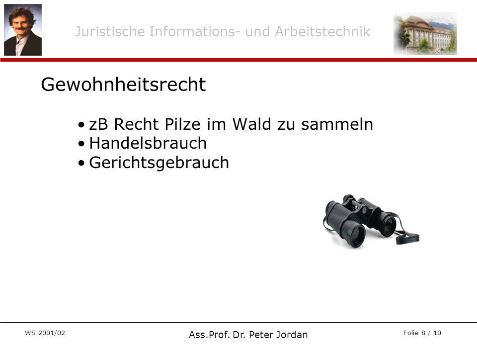 Juristische Informations- und Arbeitstechnik WS 2001/02 Ass.Prof. Dr. Peter Jordan Folie 8 / 10 zB Recht Pilze im Wald zu sammeln Handelsbrauch Gerich