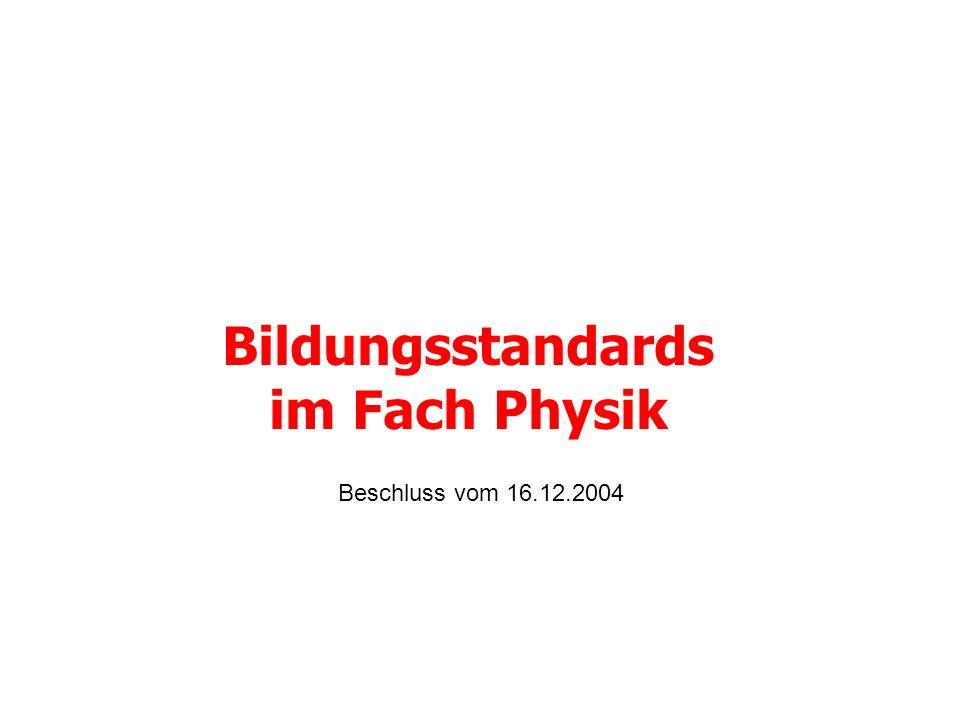 Bildungsstandards im Fach Physik Beschluss vom 16.12.2004