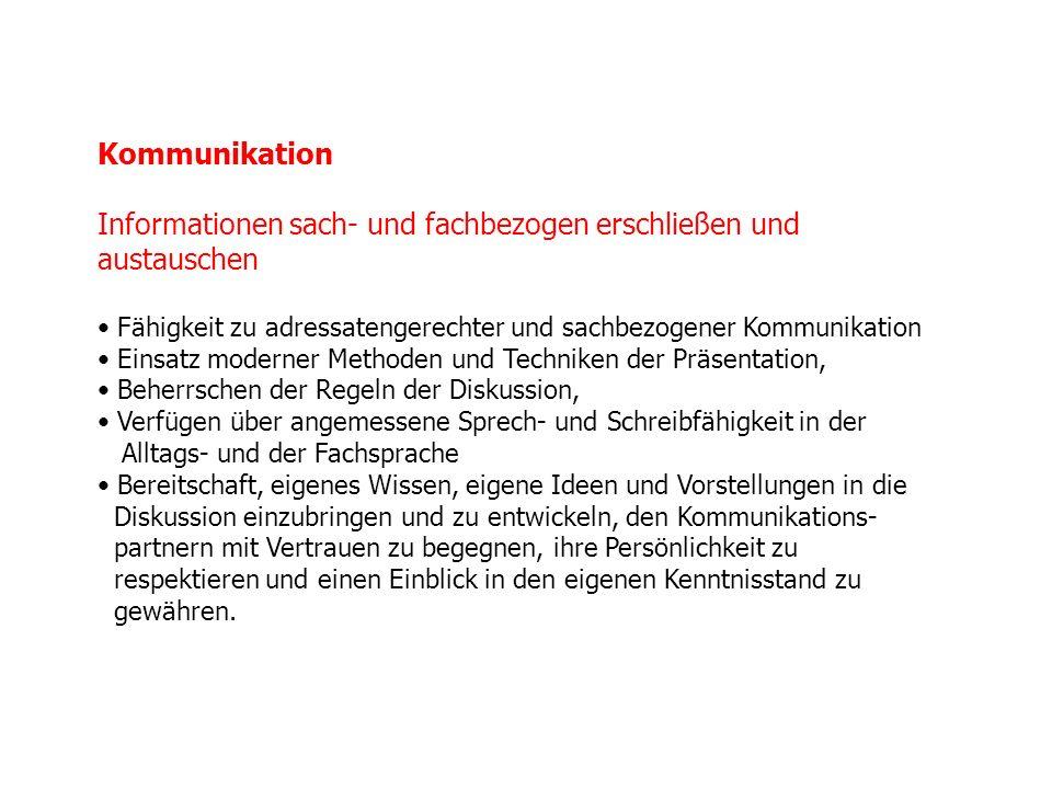 Kommunikation Informationen sach- und fachbezogen erschließen und austauschen Fähigkeit zu adressatengerechter und sachbezogener Kommunikation Einsatz