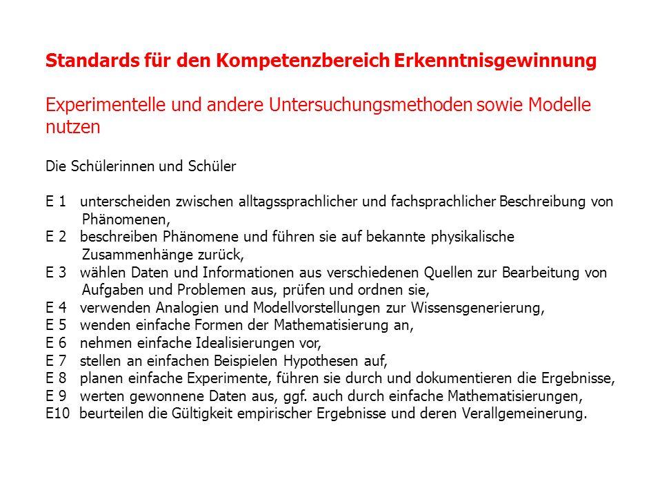 Standards für den Kompetenzbereich Erkenntnisgewinnung Experimentelle und andere Untersuchungsmethoden sowie Modelle nutzen Die Schülerinnen und Schül
