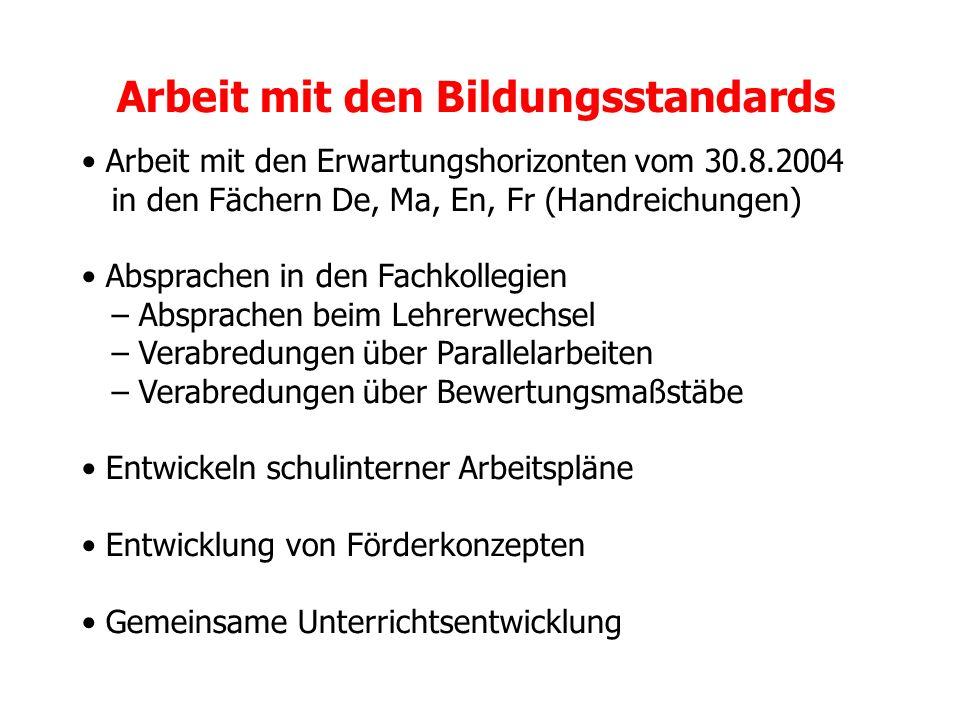 Arbeit mit den Bildungsstandards Arbeit mit den Erwartungshorizonten vom 30.8.2004 in den Fächern De, Ma, En, Fr (Handreichungen) Absprachen in den Fa