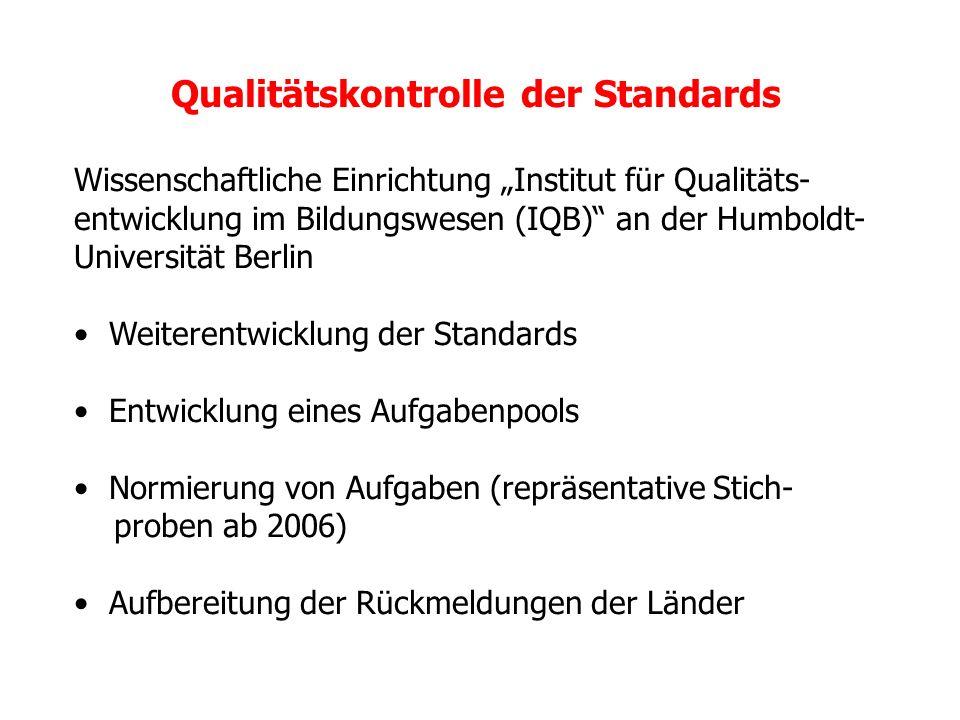 Qualitätskontrolle der Standards Wissenschaftliche Einrichtung Institut für Qualitäts- entwicklung im Bildungswesen (IQB) an der Humboldt- Universität