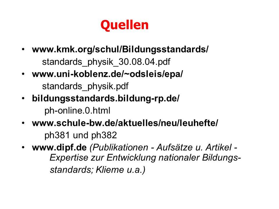 Quellen www.kmk.org/schul/Bildungsstandards/ standards_physik_30.08.04.pdf www.uni-koblenz.de/~odsleis/epa/ standards_physik.pdf bildungsstandards.bil