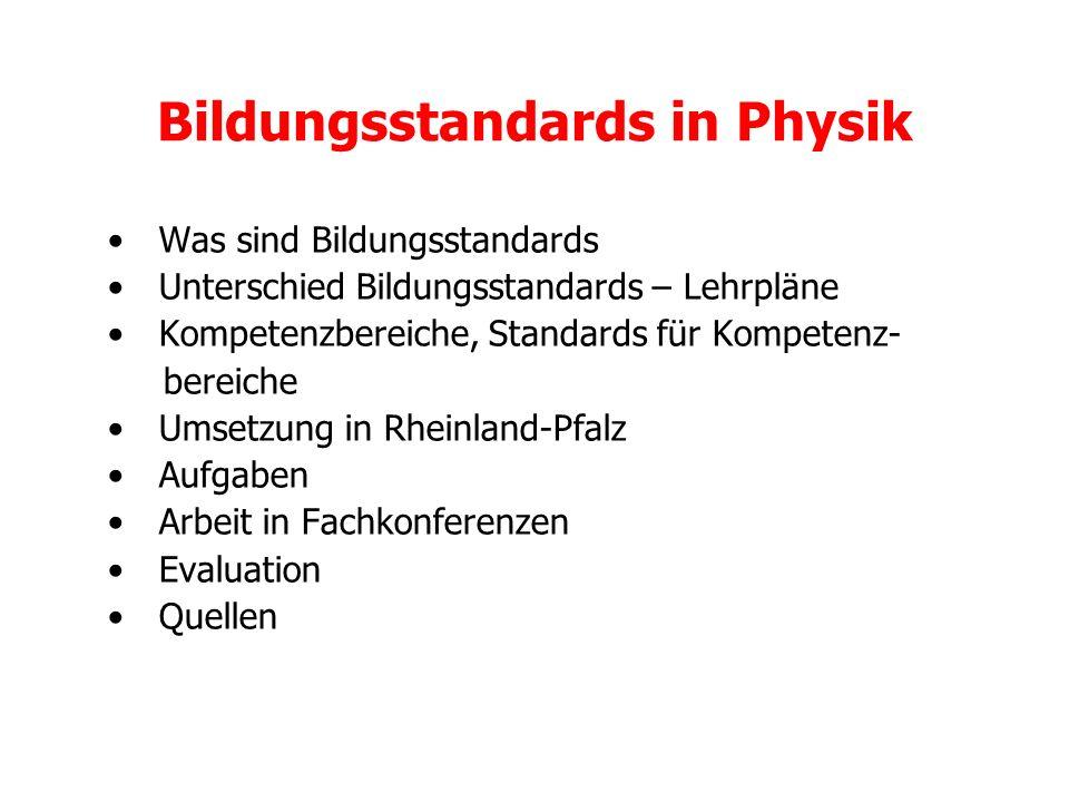 Bildungsstandards in Physik Was sind Bildungsstandards Unterschied Bildungsstandards – Lehrpläne Kompetenzbereiche, Standards für Kompetenz- bereiche