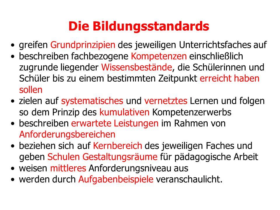 Grundstruktur der Bildungsstandards aller Fächer Gliederung: 1.
