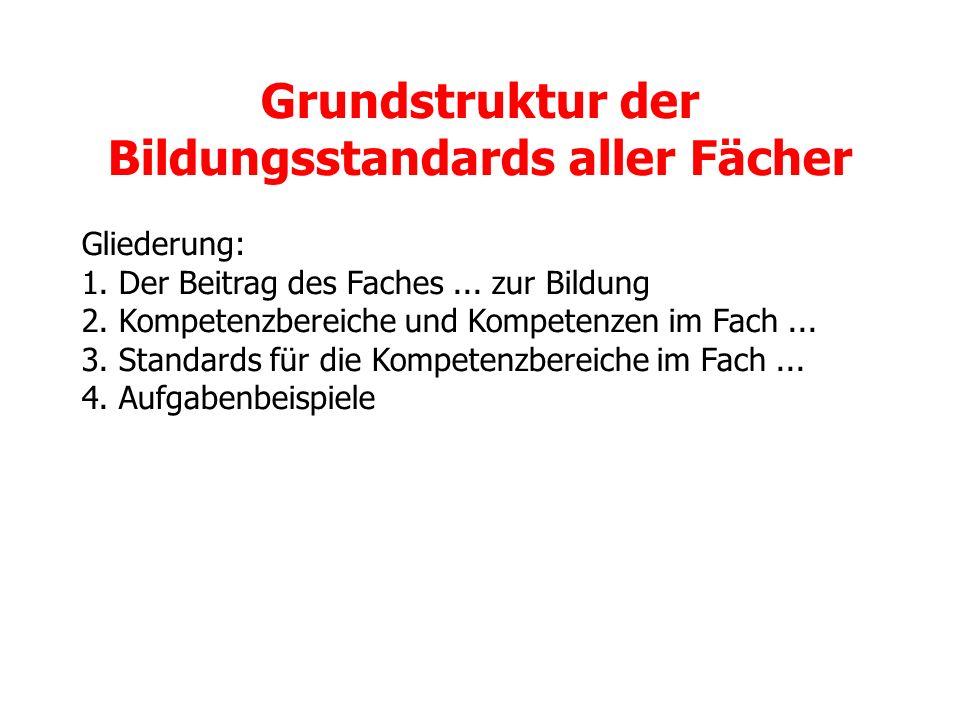 Grundstruktur der Bildungsstandards aller Fächer Gliederung: 1. Der Beitrag des Faches... zur Bildung 2. Kompetenzbereiche und Kompetenzen im Fach...