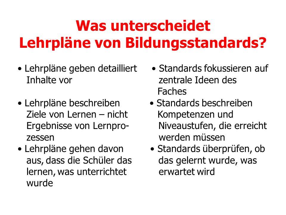 Was unterscheidet Lehrpläne von Bildungsstandards? Lehrpläne geben detailliert Standards fokussieren auf Inhalte vor zentrale Ideen des Faches Lehrplä