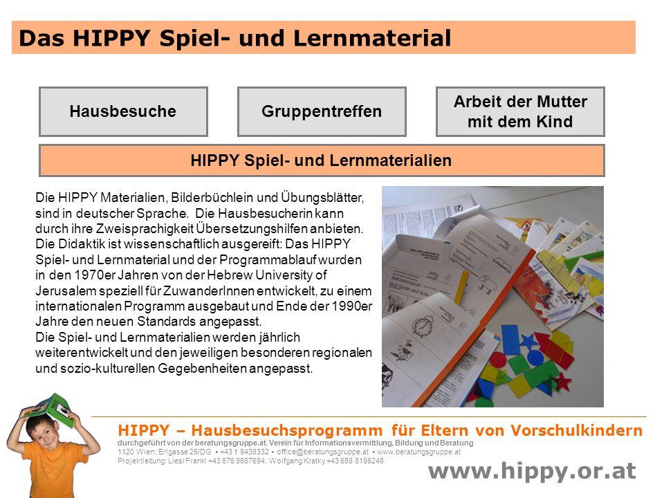 HIPPY – Hausbesuchsprogramm für Eltern von Vorschulkindern durchgeführt von der beratungsgruppe.at, Verein für Informationsvermittlung, Bildung und Beratung 1120 Wien; Erlgasse 25/DG +43 1 9438332 office@beratungsgruppe.at www.beratungsgruppe.at Projektleitung: Liesl Frankl +43 676 9667694, Wolfgang Kratky +43 688 8198248 www.hippy.or.at Und das berichten die Meidlinger HIPPY-Mütter bereits nach der 2.
