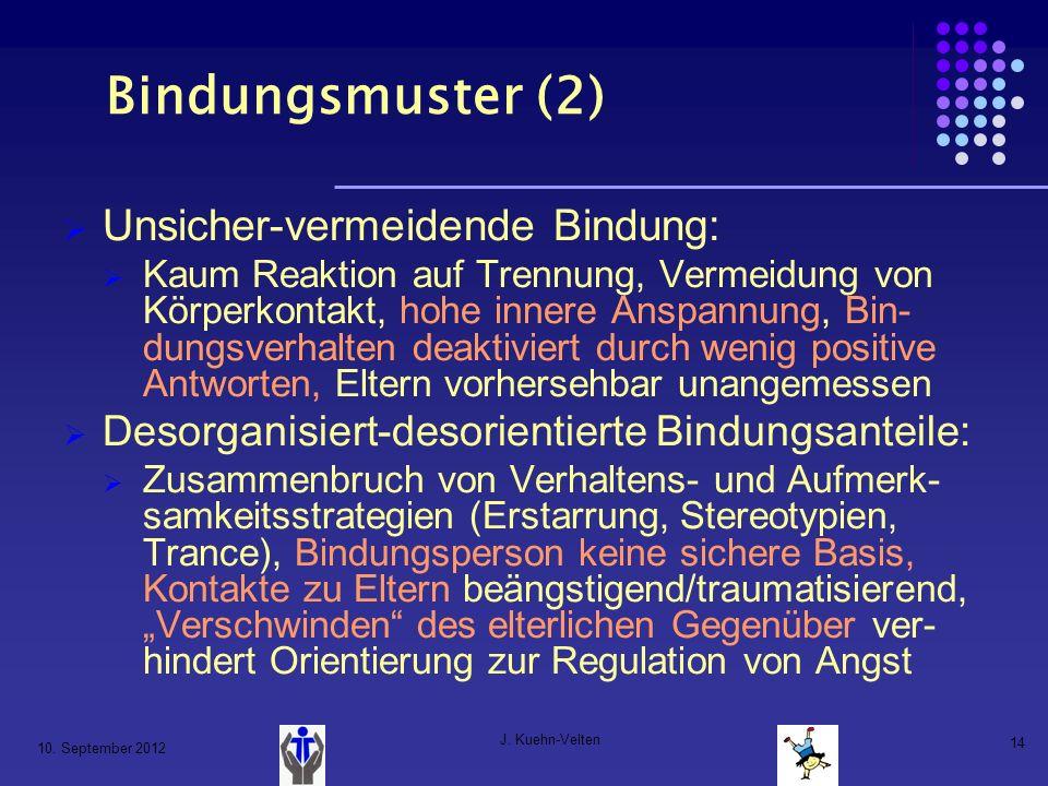 10. September 2012 J. Kuehn-Velten 14 Bindungsmuster (2) Unsicher-vermeidende Bindung: Kaum Reaktion auf Trennung, Vermeidung von Körperkontakt, hohe