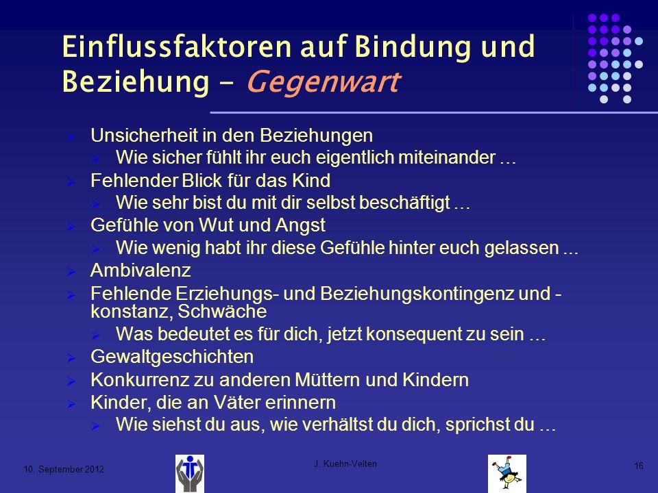 10. September 2012 J. Kuehn-Velten 16 Einflussfaktoren auf Bindung und Beziehung - Gegenwart Unsicherheit in den Beziehungen Wie sicher fühlt ihr euch