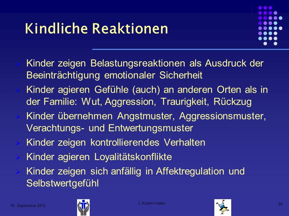 10. September 2012 J. Kuehn-Velten 20 Kindliche Reaktionen Kinder zeigen Belastungsreaktionen als Ausdruck der Beeinträchtigung emotionaler Sicherheit