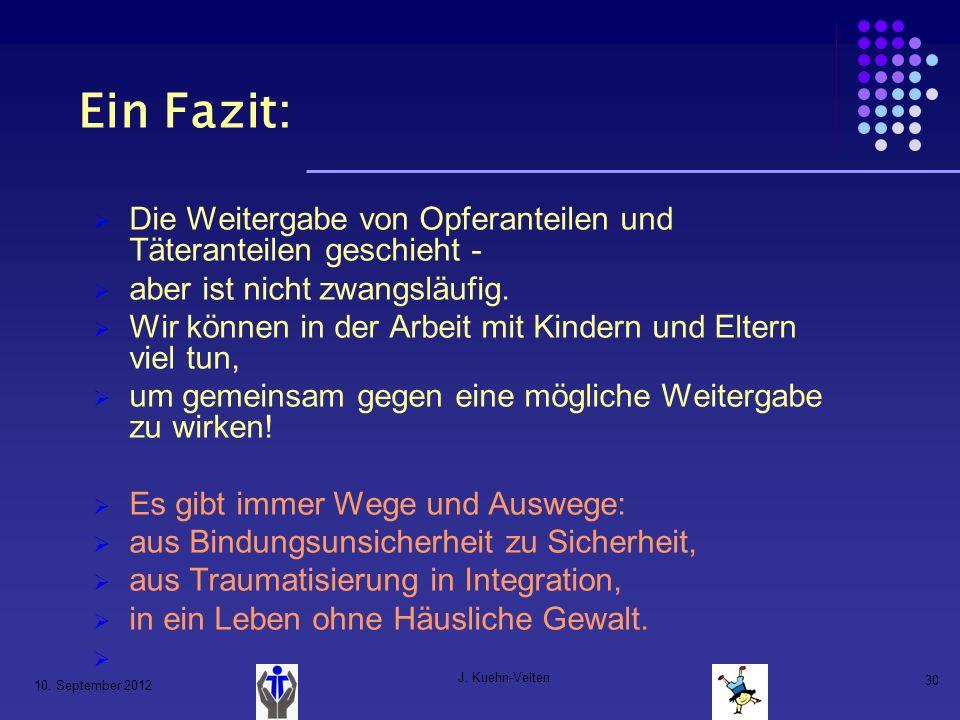 10. September 2012 J. Kuehn-Velten 30 Ein Fazit: Die Weitergabe von Opferanteilen und Täteranteilen geschieht - aber ist nicht zwangsläufig. Wir könne
