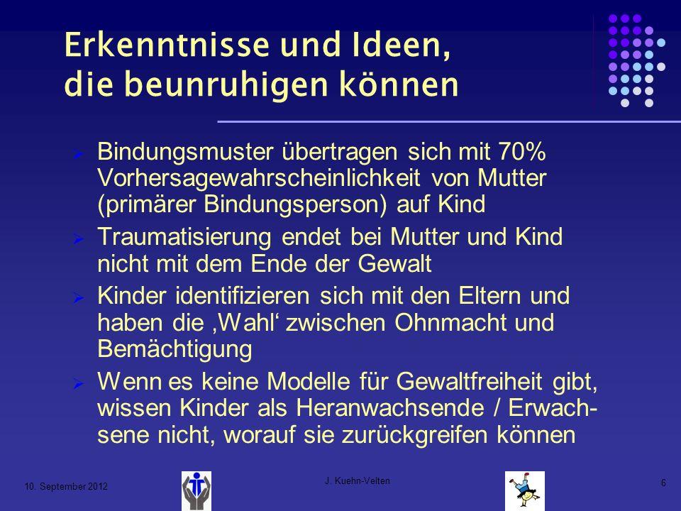 10. September 2012 J. Kuehn-Velten 6 Erkenntnisse und Ideen, die beunruhigen können Bindungsmuster übertragen sich mit 70% Vorhersagewahrscheinlichkei