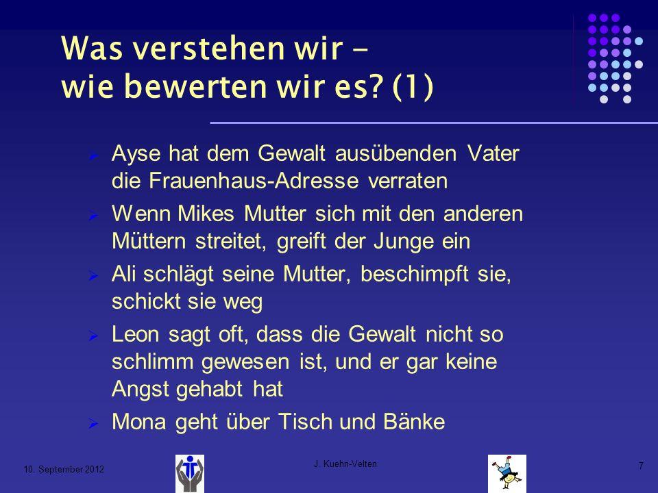 10. September 2012 J. Kuehn-Velten 7 Was verstehen wir - wie bewerten wir es? (1) Ayse hat dem Gewalt ausübenden Vater die Frauenhaus-Adresse verraten