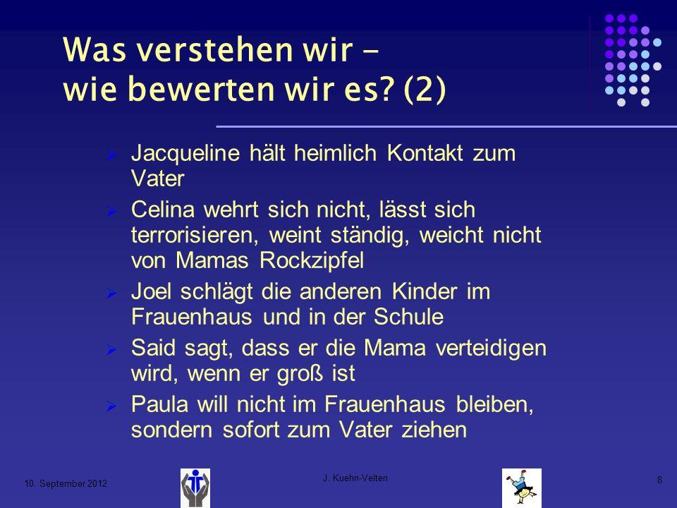 10. September 2012 J. Kuehn-Velten 8 Was verstehen wir - wie bewerten wir es? (2) Jacqueline hält heimlich Kontakt zum Vater Celina wehrt sich nicht,
