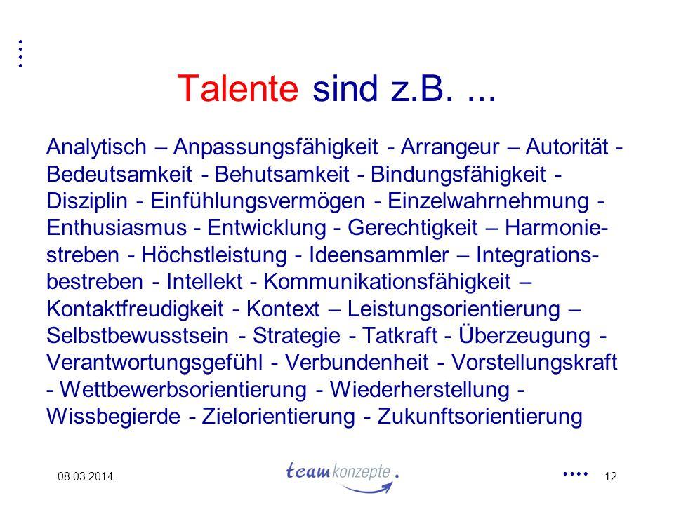 08.03.201412 Talente sind z.B.... Analytisch – Anpassungsfähigkeit - Arrangeur – Autorität - Bedeutsamkeit - Behutsamkeit - Bindungsfähigkeit - Diszip